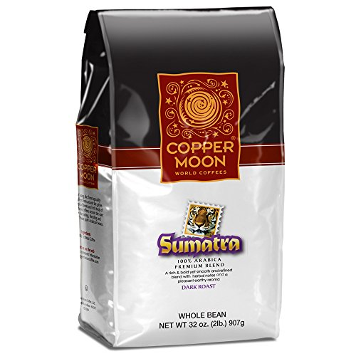 Copper Moon Whole Bean Coffee Sumatra Dark 2 Pound Whole Bean Dark Roast Small Batch Coffee with Smoothly Bold Earthy Flavors and Herbal Notes Full-Bodied and Robust