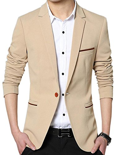 Pivaconis Men's Blazer Jacket Slim Fit One Button Casual Bussiness Party Sport Coat