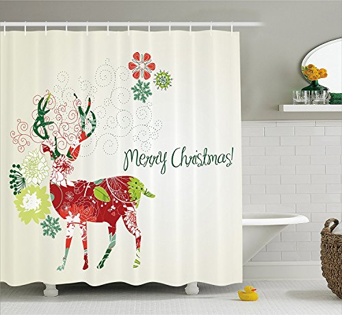 SUN-Shine Christmas Decorations Collection Abstract Reindeer with Floral Design Noel Theme Merry Christmas Shower Curtain with Hooks (Noel Reindeer)