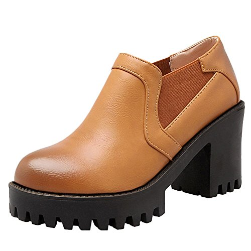 Carolbar Mujer's Bungee Retro Vintage Platform Zapatos De Tacón Alto Zapatos Amarillo-marrón
