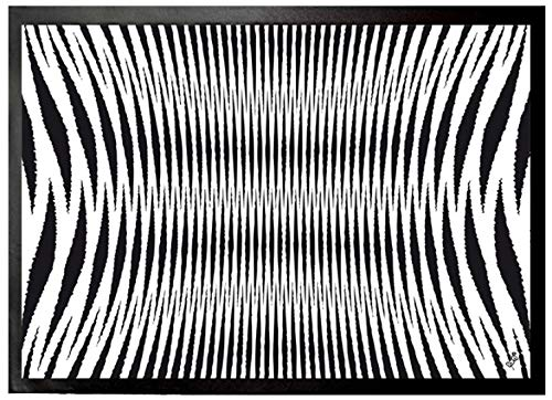 1art1 Optical Illusions Door Mat Floor Mat - Black and White Geometrical Pattern (28 x 20 inches)