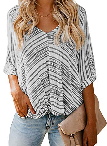 (Women's Soft Short Sleeve Striped Shirts Color Block Tops Striped Peasant Blouse(US S(4-6), Gray and White))