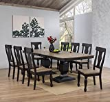 Cheap Kings Brand Alleyton 9 Piece Charcoal & Oak Wood Dining Room Set, Extendable Table & 8 Chairs