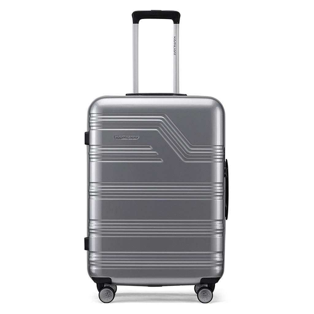 ZXXZ トロリーケース- 学生の傷抵抗力がある摩耗抵抗力があるパスワードスーツケース、人および女性のための無声衝撃吸収性の普遍的な車輪旅行トロリー箱 (Color : Silver, Size : 20in) B07V8S4Y33 Silver 20in