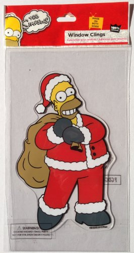 (The Simpsons HOMER SIMPSON SANTA Christmas Decoration WINDOW CLING (8 Inches Tall))