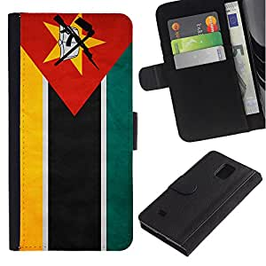 iKiki Tech / Cartera Funda Carcasa - Mozambique Grunge Flag - Samsung Galaxy Note 4 SM-N910