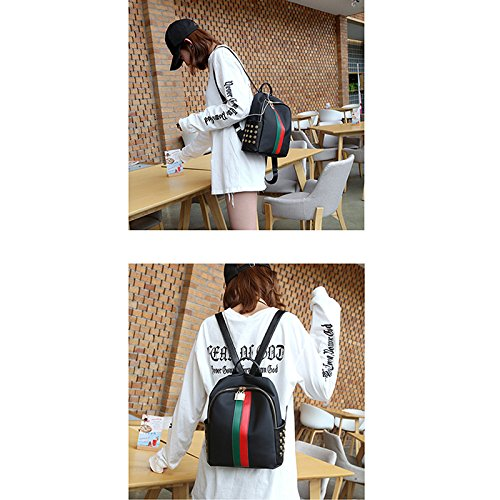 Stylish Bag Backpack Travel Leather Double Fashionable Women PU Black Camouflage Girl shoulder Casual PZ6qnI4wU