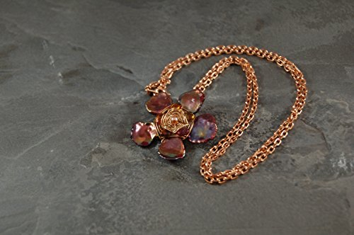 (Sculptural Flower Chain Pendant Necklace - Rose Gold - Yellow Gold - Tundra Sapphire - Pearl -Metal Wire Wrap - Wearable Art Jewelry)