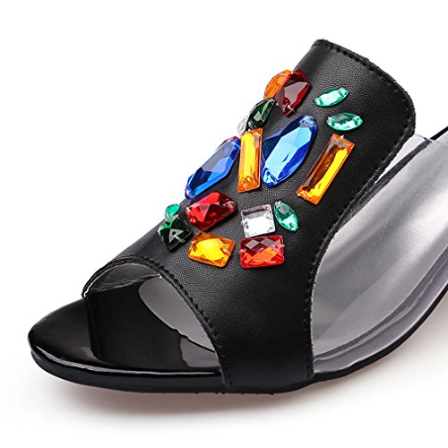 Mujeres zapatos Negro auténtica de de Zapatillas boda Rhinestone sandalias mujer de tacón para playa vestir piel fiesta rwHfprq