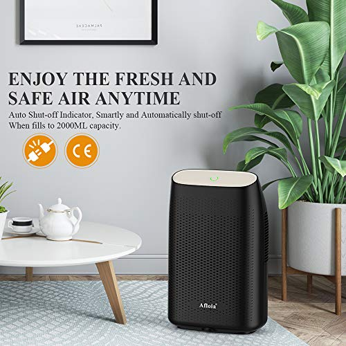 Afloia Dehumidifier for Home, Portable Quiet Dehumidifier Home Electric Dehumidifiers for Bathroom Space Bedroom Kitchen Caravan Office Basement