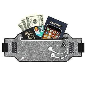 KroO Lycra Running Waist Belt Lightweight Fanny Pack for Men and Women W/Earphone Access fits iPhone/Android/Windows Phones [Heather Grey]