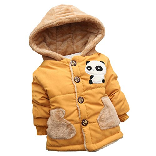 Winsummer Toddler Baby Kid Winter Thick Warm Clothes Cotton Panda Print Hooded Down Coat Cloak Outfits (Yellow, 2-3T) by Winsummer