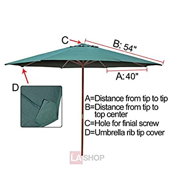 Heavy Duty 9×9 Ft 108 Diameter Round 8-rib Umbrella Replacement Canopy Green Polyester Fabric UV Protection Sun Shade Waterproof for Home Outdoor Garden Market Patio Top Shelter