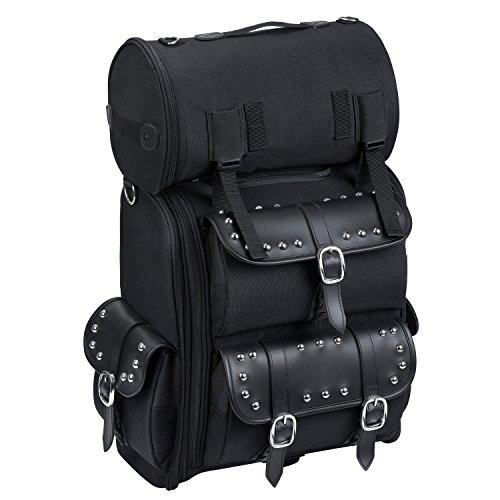 Motorcycle Sissy Bar Bag - Viking Studded Leather Motorcycle Sissy Bar Bag