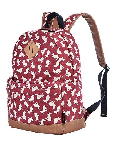 Douguyan Mochila mujer, Bolso escolar,Mochilas escolares,Mochilas Tipo Casual,Lona y PU cuero - E00133 Negro Rojo conejo