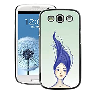 A-type Arte & diseño plástico duro Fundas Cover Cubre Hard Case Cover para Samsung Galaxy S3 (Blue Purple Haired Girl Womb Green)