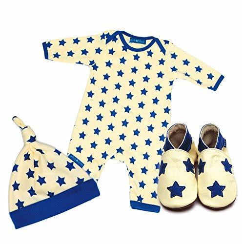 Inch Blue niñas niños piel zapato de bebé, body para bebé de algodón y algodón sombrero juego de regalo con estampado–