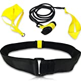 Swimming Belt for Stationary Resistance Training with Drag Parachute and Elastic Tether - for Adults and Kids, Professional, Amateur and Recreational Use (Indoor and Outdoor Pools)