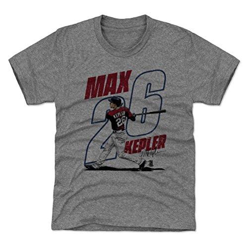 500 LEVEL Minnesota Baseball Youth Shirt - Kids Medium (8Y) Tri Gray - Max Kepler Swing R ()