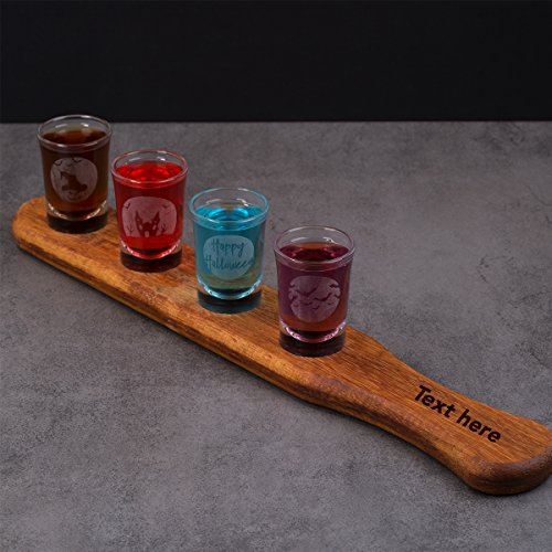Halloween Shot Glasses Set of Four 4 with Customazible Vintage Wooden (Andy Warhol Costume Halloween)