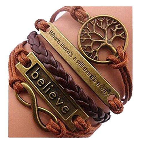 Jovana Fashion Retro PU Leather Alloy Bracelet Wristlet Bangle Wrist Band Hand Chain