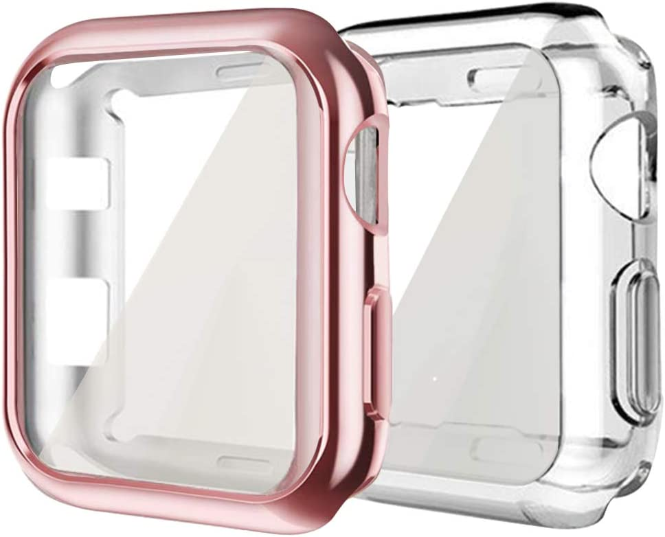 Compatible with Apple iWatch Case 38mm,hd clear ultra-thin Screen Protector TPU All-around Full Front Protective Case Cover Compatible for Apple Watch Series 3 Series 2 (2Pack-Rose Pink + Clear, 38mm)