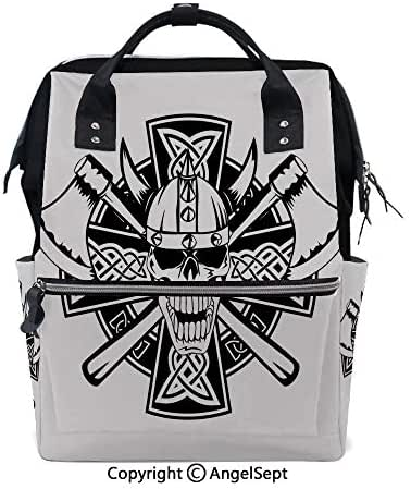 Fashion Backpack Multi-Function Nappy Bags,Celtic Skull Knight with Cross Axes and Knives Medieval Europe Iron Age Graphic Black White,15.7 inches,for Mom & Dad, Travel Back Pack
