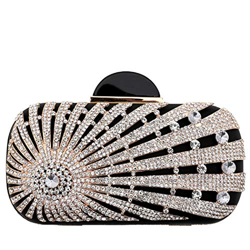 Beautiful Women's Glitter Prom Clutch Black Rhinestone Party Flada Sparkling Crystal Bag Purse Clutch Black Handbag Evening Pouch RqdPYw