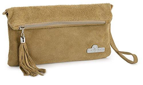 LIATALIA Womens Real Italian Suede Leather Party Clutch Evening Wedding Wristlet Bag Purse - RUTH Medium Tan