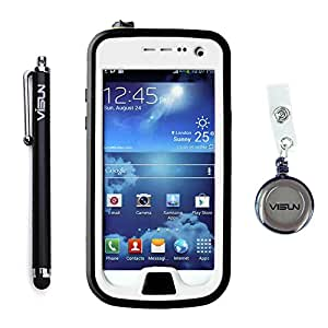 VISUN™ Samsung Galaxy S4 Mini Case - Waterproof Case IP68 Waterproof Shockproof Durable Full Sealed Protection Case Cover with Stylus Pen and Retractable Reel for Samsung Galaxy S4 Mini (White)