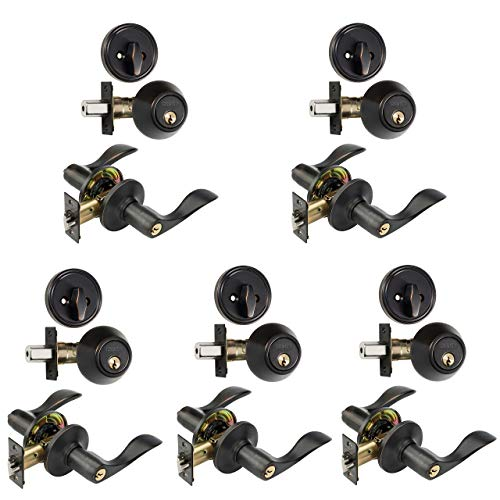 Dynasty Hardware CP-HER-12P, Heritage Front Door Entry Lever Lockset and Single Cylinder Deadbolt Combination Set, Aged Oil Rubbed (5 Pack) Keyed Alike