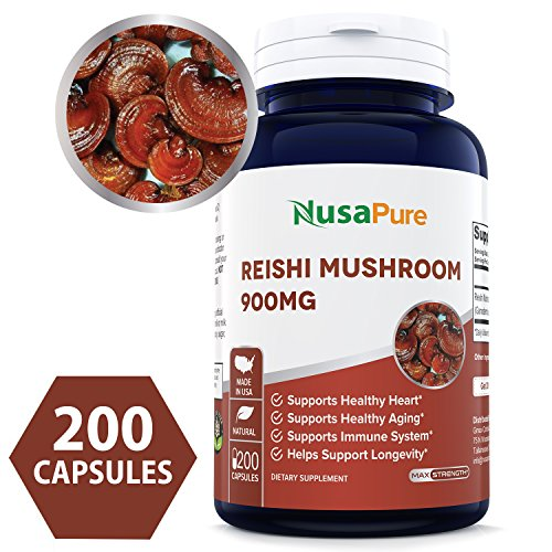 Best Reishi Mushroom 900mg 200caps (NON-GMO & Gluten Free) Promotes Heart Health and Balances Blood Pressure, Helps Balance Hormones - Made in USA - 100% MONEY BACK GUARANTEE - Order Risk Free!