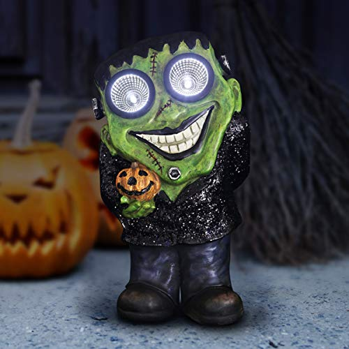 (Exhart Smiling Frankenstein with Pumpkin, Halloween Statue, Solar Powered, LED Light Eyes, 12