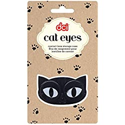 DCI Cat Eyes Contact Lens Case, Assorted Black/Pink
