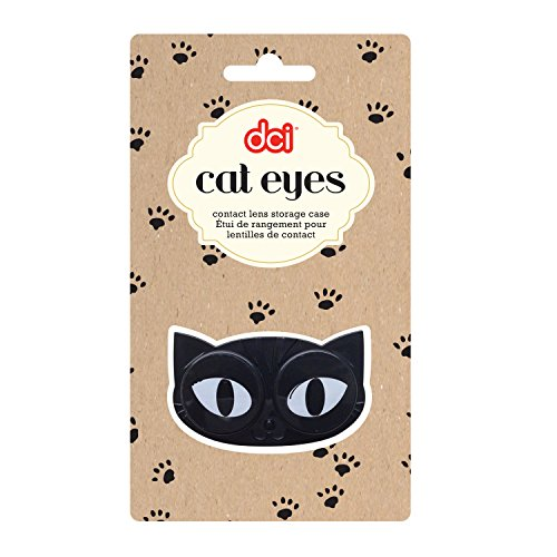 DCI Cat Eyes Contact Lens Case - Travel Mini Contact Lens Case Holder - Eye Care You Will Love, Black