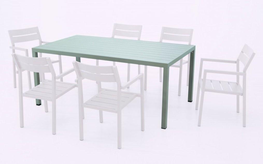 Mesa de terraza lamas aluminio color champagne 180x100 Sand ...