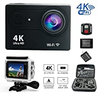 Daretang 2017 model Wifi Sports Action Camera,4K Ultra HD,100ft Waterproof,12MP,170 Wide Angle Camcorder with 2.4G Remote Control,2Batteries,1 Charger and other accessories in 1 Carring Case,(Black)