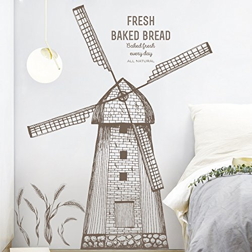 Home Decoration Wall Stickers Hand-painted windmill stickers bedroom living room bedroom decoration wall stickers simple creative personality wallpaper bedside wallpaper 95105cmWall Sticker Decals.