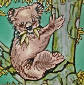 Continental Art Center BD-2225 8 x 8 in. Kola Bear On A Tree Ceramic Art Tile