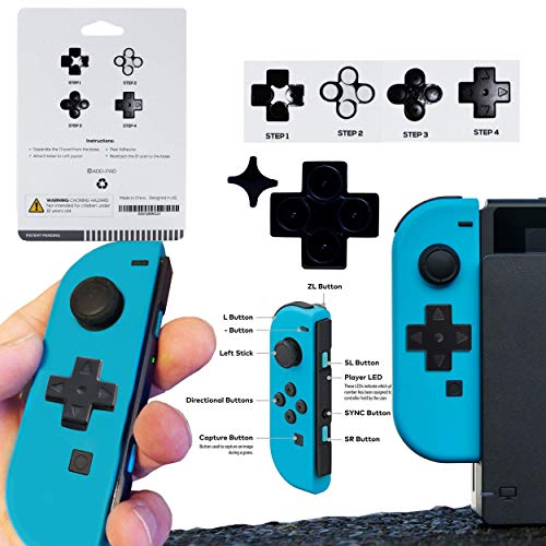 """""""Add-Pad V2"""" Video Game Nintendo Switch Joy-Con (L) DPad Button - Attachable 4-Way Directional Thumbtack For The Left Controller - Specially Designed Adhesive D-Pad - No Disassembly Required"""