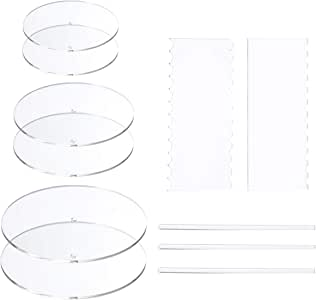 """AQUIVER Acrylic Round Cake Disk Set - Cake Discs Circle Base Boards with Center Hole - 2 Comb Scrapers (4 Patterns) & 3 Dowel Rod - 5.25"""", 7.25"""", 9.25"""", 2 of Each Size - Supplies for 3 Tier Cakes"""