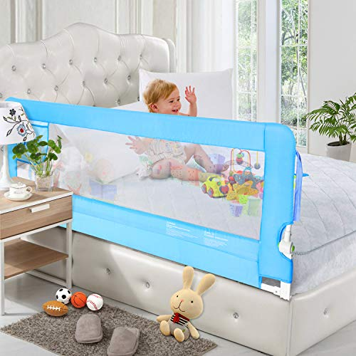 - ODOLAND 70in Bed Rail Swing Down Safety Bed Rails Hide Away(HA) Bedrail Assist Extra Long BedRails, Mesh Guard Rails for Convertible Crib(1 Pack)