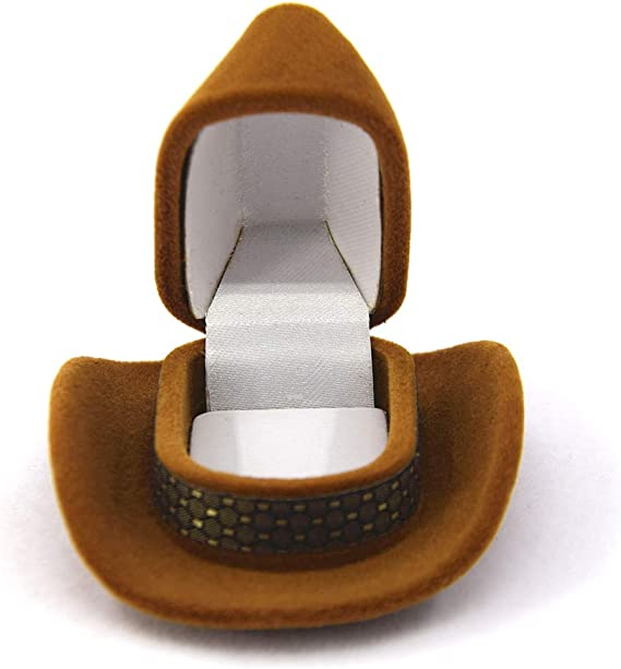 Caja para anillos con forma de sombrero de vaquero para mujer, joyero creativo: Amazon.es: Hogar