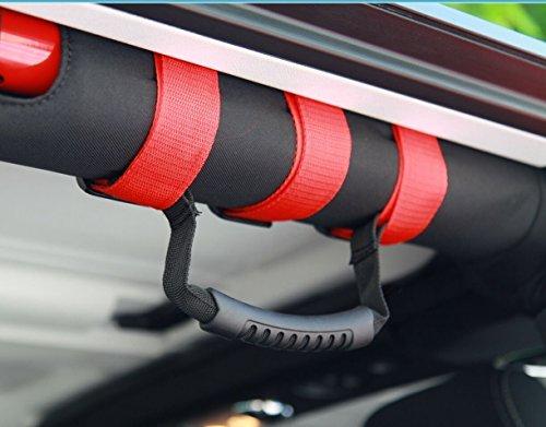 Opar Roll Bar Grab Handles for 1955-2018 Jeep Wrangler CJ YJ TJ JK (Red,Pack of 2)