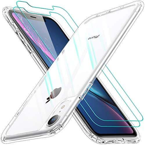AEDILYS Shockproof Compatible for Apple iPhone XR Case with [2 X Screen Protector] [15FT Military Grade Drop Protection] [Scratch-Resistant], Slim Non-Slip iPhone XR Phone Case, (6.1'')- Clear