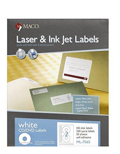 MACO Laser/Ink Jet White CD/DVD Labels, Face and Spine, 2 Face and 4 Spine Per Sheet, 100 Face and 200 Spine Per Box (ML-7565)