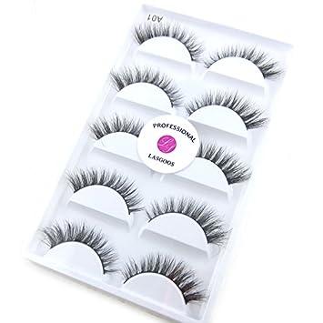c6e967a0ffb Amazon.com : Luxurious 100% Siberian Mink Fur 3D False Eyelash LASGOOS  Degisn Natural Messy Short Volume Fake Eyelashes 5 Pairs/Box (A015) : Beauty