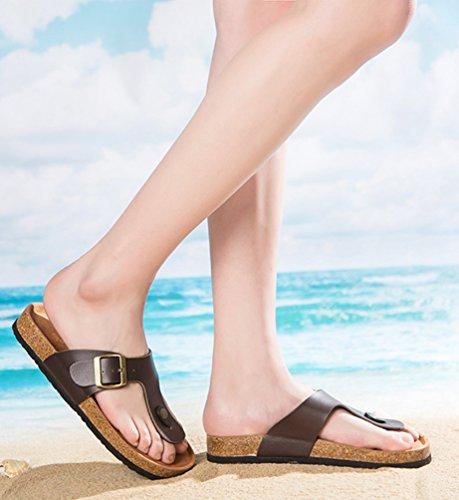 ZKOO Chanclas Footbed De Corcho Mujeres Punta Abierta Vendaje Zapatillas Verano Zapatos de Ajustable Hebilla Sandalias De Playa Marrón