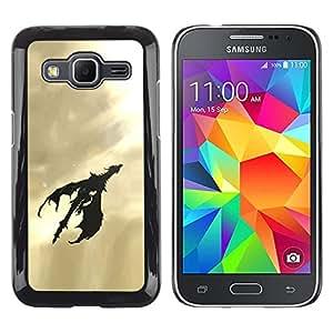 Paccase / Dura PC Caso Funda Carcasa de Protección para - Dragon Flying Art Sky Sunshine Light Black - Samsung Galaxy Core Prime SM-G360
