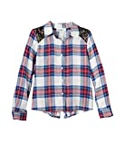 Cloud Chaser Girls Sequin Plaid Flannel Button-Down Shirt (Medium, White/Red/Blue)